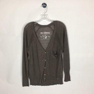 True Religion Size L Gray Cardigan Sweater
